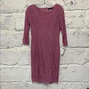 NWT Lavender Pink Lacy Long-Sleeve Dress